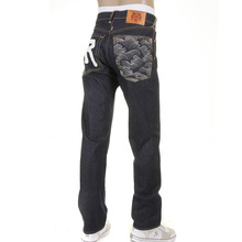 RMC Slimmer Cut 1001 Model Dark Indigo 888 Raw Denim Jeans with Rock N Roll and Tsunami wave Embroidery REDM4604