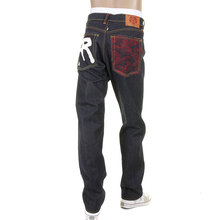 RMC Jeans Slimmer Cut 1001 Model Dark Indigo 888 R&R and Tsunami Wave Embroidered Raw Denim Jeans REDM5035
