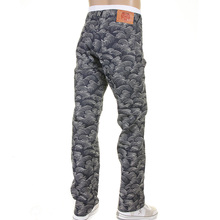 RMC Martin Ksohoh 1001 Model Mens Denim Jeans with Full White Tsunami Wave Embroidery REDM5217