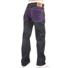 RMC Jeans Exclusive Violet Tsunami Wave Embroidered Genuine Raw Vintage Cut Denim Jeans REDM6312