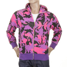 RMC Jeans Purple Black and Pink Regular Fit Hooded RJK3663 Zipped Samurai Camo Sweatshirt REDM1017