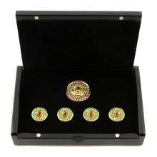 RMC Martin Ksohoh Precious Stone Green Garnet custom made button set in gift box RMC2380