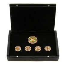 RMC Jeans Blue Sapphire Custom Made Precious Stone Gift Box Button Set RMC2369