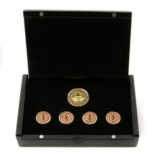 RMC Martin Kshohoh Custom Made Button Set Ruby Blue Sapphire Gift Box RMC2340