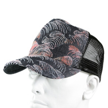 RMC Jeans Pink Flock Tsunami Wave Embroidered Black Mesh Cap for Men REDM5902