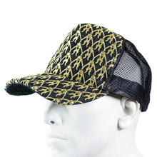 RMC Jeans Mens Black Mesh Gold Logo Embroidered Cap REDM9097