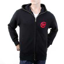 RMC Martin Ksohoh Mens RJK141160 Regular Fit Zipped Front Untunk Print Hooded Sweatshirt in Black REDM1037