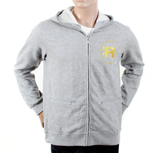 RMC R6WCTSUNAMIE Cotton Tsunami Wave Embroidered Zipped Hooded Jacket in Grey Marl REDM1065