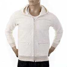 RMC Jeans Mens R6MPJK492WWH Wool Mix Regular Fit Hooded Zipped Jacket Tsunami Wave in Ivory REDM1038