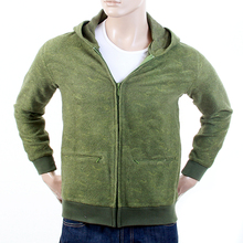 RMC Jeans Embroidered Tsunami Wave Wool Mix R6MPJK492WGR Regular Fit Moss Green Hooded Zipped Jacket REDM1053