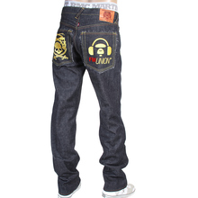 RMC X 4A Version Mens Like Black Model 1001 Monster Rider FM Union Gold Embroidered Jeans in Indigo RMC1939