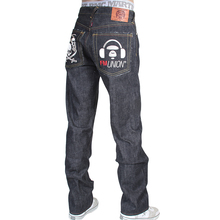 RMC X 4A Version Mens Indigo Raw Selvedge Denim 1001 Model Black Monster Rider FM Union Embroidered Jeans RMC1940