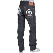 RMC X 4A Version Mens Indigo Raw Selvedge 1001 Black FM Union Monster Rider Embroidered Denim Jeans RMC1943