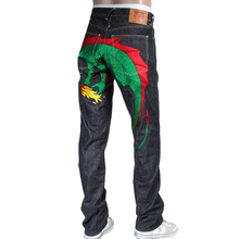 RMC Jeans mens green embroidered Hungry Dragon Japanese selvedge denim jeans RMC3741