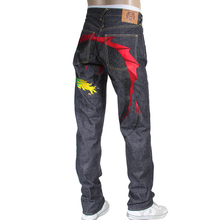 RMC Jeans Hungry Dragon Red and Black Embroidered 1001 Model Indigo Japanese Selvedge Denim Jeans RMC3742
