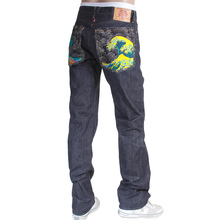 RMC Jeans mens embroidered Tsunami wave Japanese selvedge denim jeans RMC3745