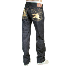 RMC Martin Ksohoh Japanese Raw Selvedge Indigo 1001 Model Denim Jeans with Gold Lucky Horse Embroidery RMC3750