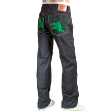 RMC Indigo Raw Red Line Selvedge Model 1001 Japanese Denim Jeans with Green Lucky Horse Embroidery RMC3749