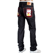 RMC Jeans mens embroidered Lucky Cat Maneki Neko Japanese selvedge denim jeans RMC4115