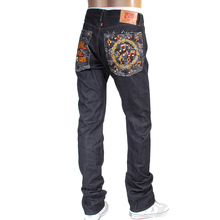 RMC Jeans mens embroidered No Music No Life Japanese selvedge denim jeans RMC4125