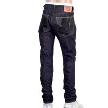 RMC Indigo Raw Red Line 1111 Model Indigo Selvedge Denim Jeans with Black Bushi Embroidery RMC2767