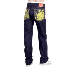 Japanese selvedge gold crane and flowers mens denim jeans by RMC RMC1955