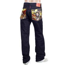 RMC mens embroidered warriors raw denim jeans RMC1956
