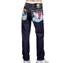 Red Monkey Jeans Yoropiko Mens Raw Selvedge Denim Jeans with Fuji Mountain and Shark Embroidery RMC1953