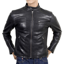RMC Jeans Black Biker Kid Leather Jacket with Riri Zips Throughout REDM4488