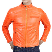 RMC Jeans Mens Biker Jacket Pure Leather Orange Designed by Martin Ksohoh with Nehru Collar REDM4489
