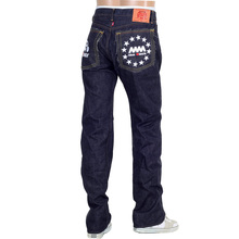 RMC Martin Ksohoh 4A FM Union Model 1001 White Embroidered Raw Selvedge Denim Jeans in Indigo RMC1938
