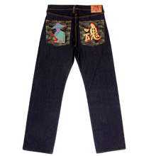 Embroidered War Is Not The Answer mens selvedge denim jeans by RMC REDM4229