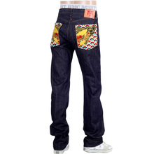 RMC Raw Selvedge RQP14137 Slimmer 1001 Model Indigo Jeans with Koi Carp Embroidered Back Pockets REDM5066