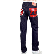 RMC RQP14123 Sengoku Painted and Embroidered Japanese 1011 Slimmer Model Raw Selvedge Denim Jeans REDM4454