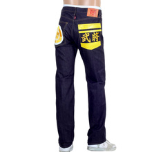 RMC Mens Yellow Sengoku Painted and Embroidered 1011 Slimmer Model RQP14123 Selvedge Denim Jeans REDM4453