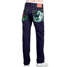 RMC 1011 Model RQP14121 Japanese Selvedge Denim Jeans with Green Dragon and Tsunami Wave Embroidery REDM4457