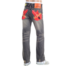 Yoropiko Skull Embroidered Rock Washed Selvedge Denim Jeans by MYM for Men YORO0686