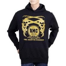RMC Martin Ksohoh Long Sleeve Kangaroo Style Pocket Regular Fit Black Hoodie with Gold Logo Print REDM0705