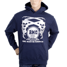 RMC Martin Ksohoh Regular Fit Kangaroo Style Pocket Navy Blue Long Sleeve Hoodie with Silver Logo Print REDM0713