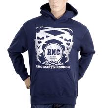 RMC Martin Ksohoh Regular Fit Kangaroo Style Pocket Navy Blue Long Sleeve Hoodie with Silver Logo Print REDM0713