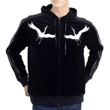 RMC Jeans Sakura Crane Embroidered Regular Fit Black Hooded Jacket with Faux Leather Trims for Men REDM2902