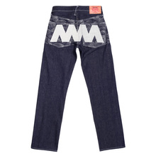 RMC Jeans Authentic Vintage Indigo Raw Selvedge Denim Jeans with Silver 4A Like Black Embroidery REDM2904