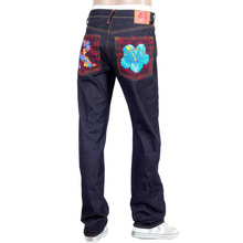 RMC Jeans Holiday Flower Embroidered Vintage Cut Raw Selvedge Dark Indigo Denim Jeans REDM3252