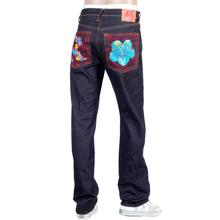 RMC Jeans Holiday Flower Embroidered Vintage Cut Raw Selvedge Dark Indigo Denim Jeans REDM3252