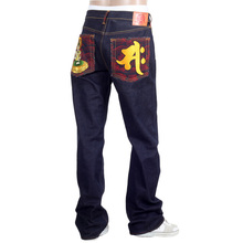 RMC Jeans Dark Indigo Genuine Seisi Bosatu YEAR OF THE HORSE Embroidered Vintage Raw Selvedge Jeans REDM9076