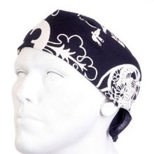 Yoropiko 100% Cotton Navy Printed Bandana with Finished Edges YORO2943
