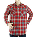 Yoropiko mens shirt 11131001 red western check shirt YORO5306