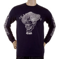 RMC Jeans Akasarugumi Fuijin Printed Mens Crew Neck Long Sleeve Regular Fit T-shirt in Navy REDM5411