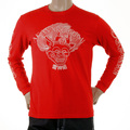 RMC Jeans Cotton Akasarugumi Long Sleeve Red Regular Fit Crew Neck T-shirt with Raijin Print REDM5407