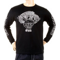 RMC Jeans Crew Neck Akasarugumi Raijin Printed Regular Fit Long Sleeve T-shirt in Black REDM5405